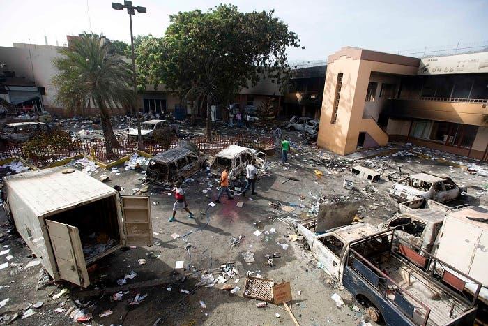 13. Así quedó el parqueo de esta plaza comercial en Puerto Príncipe.