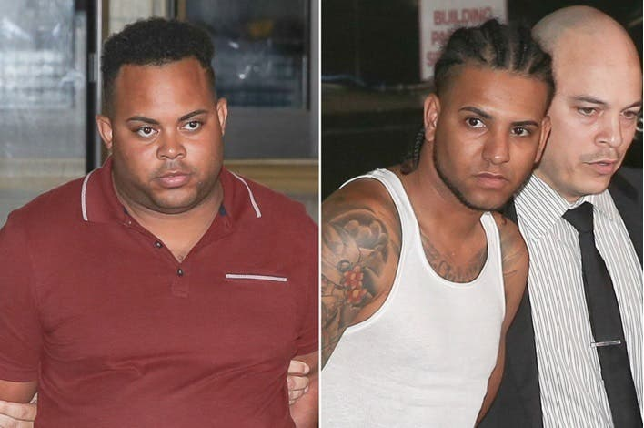 """Diego Suero, de 29 años, y Gabriel Ramírez, de 26, los dos miembros de la pandilla Los Trinitarios apresados el pasado martes e identificados como de """"alto rango""""."""