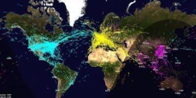 Este mapa del sistema FACENT de la NASA muestra la congestión del tráfico aéreo mundial.