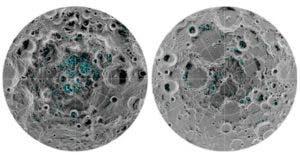 El hielo está en los polos norte y sur de la Luna.