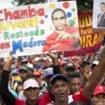La marcha de los chavistas en respaldo de Nicolás Maduro.