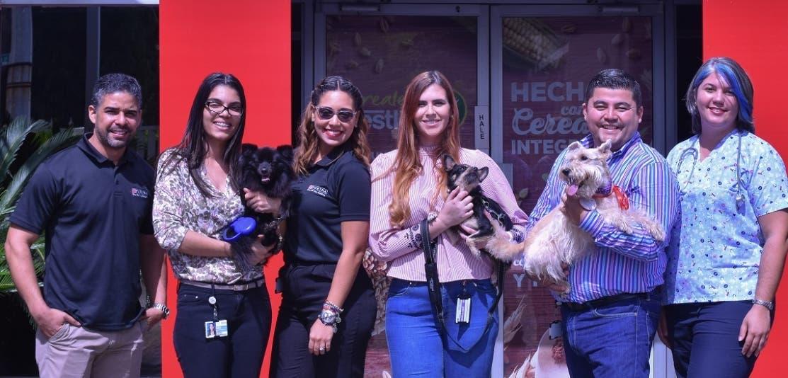 Ejecutivos de la empresa durante el encuentro con sus mascotas.