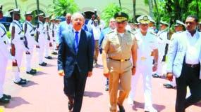 El presidente Danilo Medina, en el acto este fin de semana en la Armada Dominicana.