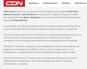 Comunicado emitido por CDN sobre la salida de tres periodistas.