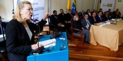 La exfiscal general de Venezuela, Luisa Ortega Díaz, en el juicio contra Nicolás Maduro celebrado en el Congreso de Colombia. Fuente externa