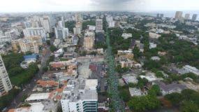 La movilización partió desde las avenidas 27 de Febrero con Tiradentes hasta el Centro de Los Héroes