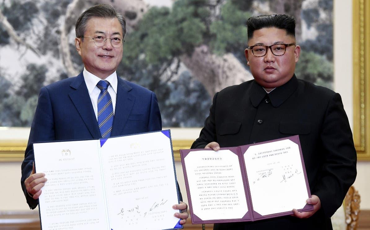 Los presidentes Moon Jae-in y  Kim Jong-un se comprometieron a un proceso de paz.