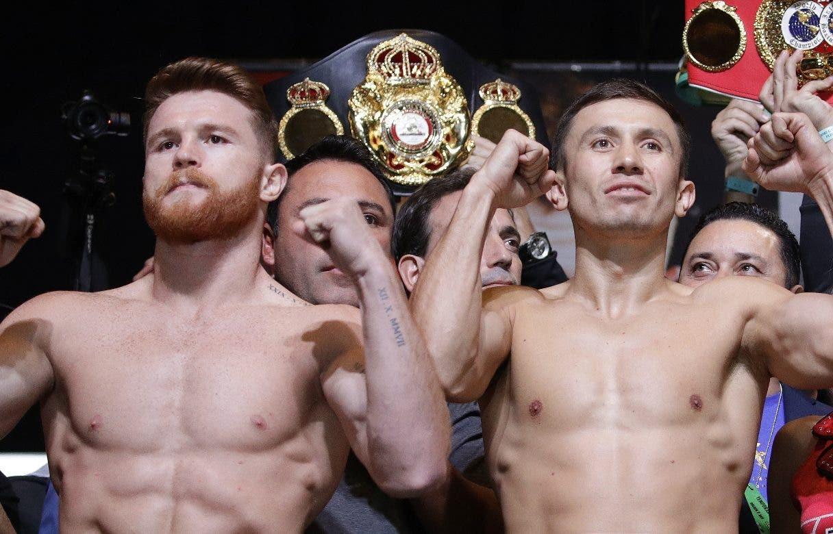 """Saúl """"Canelo"""" Álvarez  y Gennady Golovkin en la presentación para su combate el sábado."""