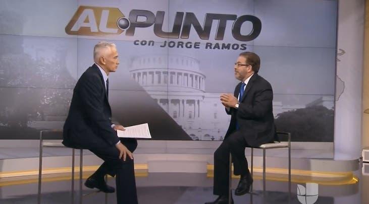 Guillermo Moreno durante la entrevista con Jorge Ramos.