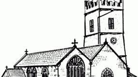 A Drawing Of A Church Holy Trinity Church, Burrington, Devon