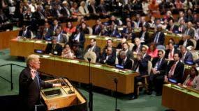 El presidente estadounidense Donald Trump en su discurso ante la Asamblea General de la ONU el 19 de septiembre del 2017. (AP Photo/Seth Wenig, File)