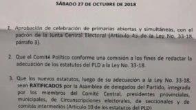 Faxcimil del documento aprobado por  Comité Central  del PLD.