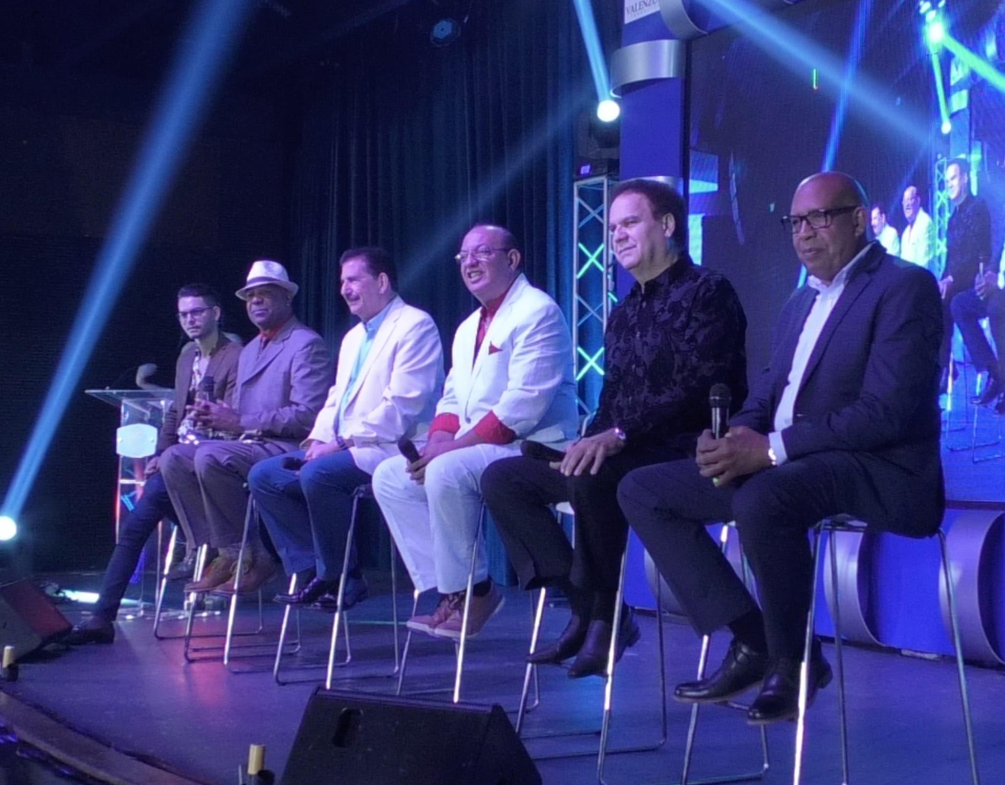 Camilo Then, Elías Santana, Adib Melgen, Chucky Acosta, Javish Victoria y Amable Valenzuela en rueda de prensa en Escenario 360.