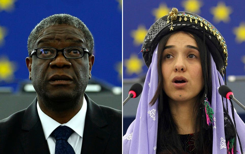 """El doctor Denis Mukwege y Nadia Murad """"han realizado una contribución crucial para llamar la atención sobre este tipo de delitos de guerra y combatirlos"""", dijo el Comité Noruego del Nobel en su anuncio."""