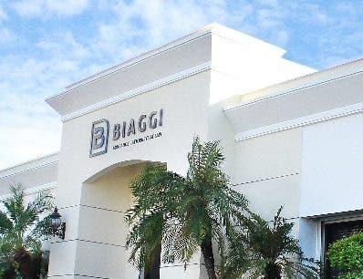 La fachada de la oficina Biaggi Abogados.