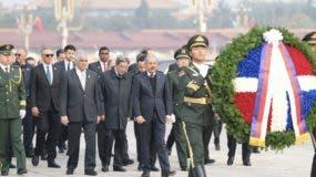 Danilo Medina en la plaza Tiananmen