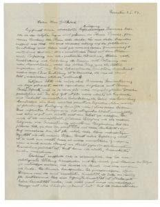 Esta foto proveída por la casa de subasta Christie's muestra la primera página de una carta de Albert Einstein escrita el 3 de enero de 1954 y en la que el científico ofrece sus opiniones sobre religión y la idea de Dios. La carta será subastada el 4 de diciembre del 2018 por Christie's. (Christie's vía AP)