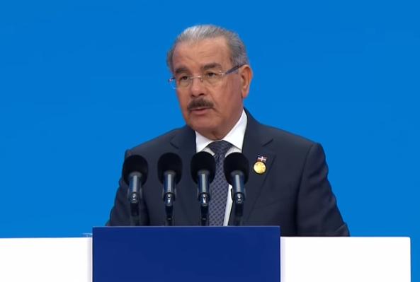 Danilo Medina durante su discurso en China.