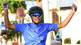 Ruth Elisa Santana celebra luego de llegar a la meta en una de las  competencias en los Juegos.  Alberto Calvo.