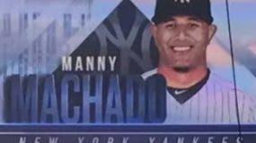 Los Filis y los Yanquis colocaron en sus pantallas la imagen del dominicano Manny Machado.