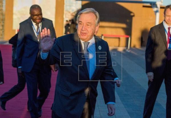 El secretario general de la ONU, Antonio Guterres, a su llegada a la reunión. EFE