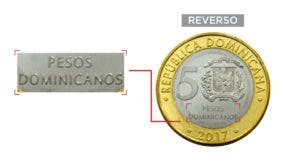 """A partir del 26 de este mes la moneda tendrá la  inscripción """"Pesos  dominicanos""""."""