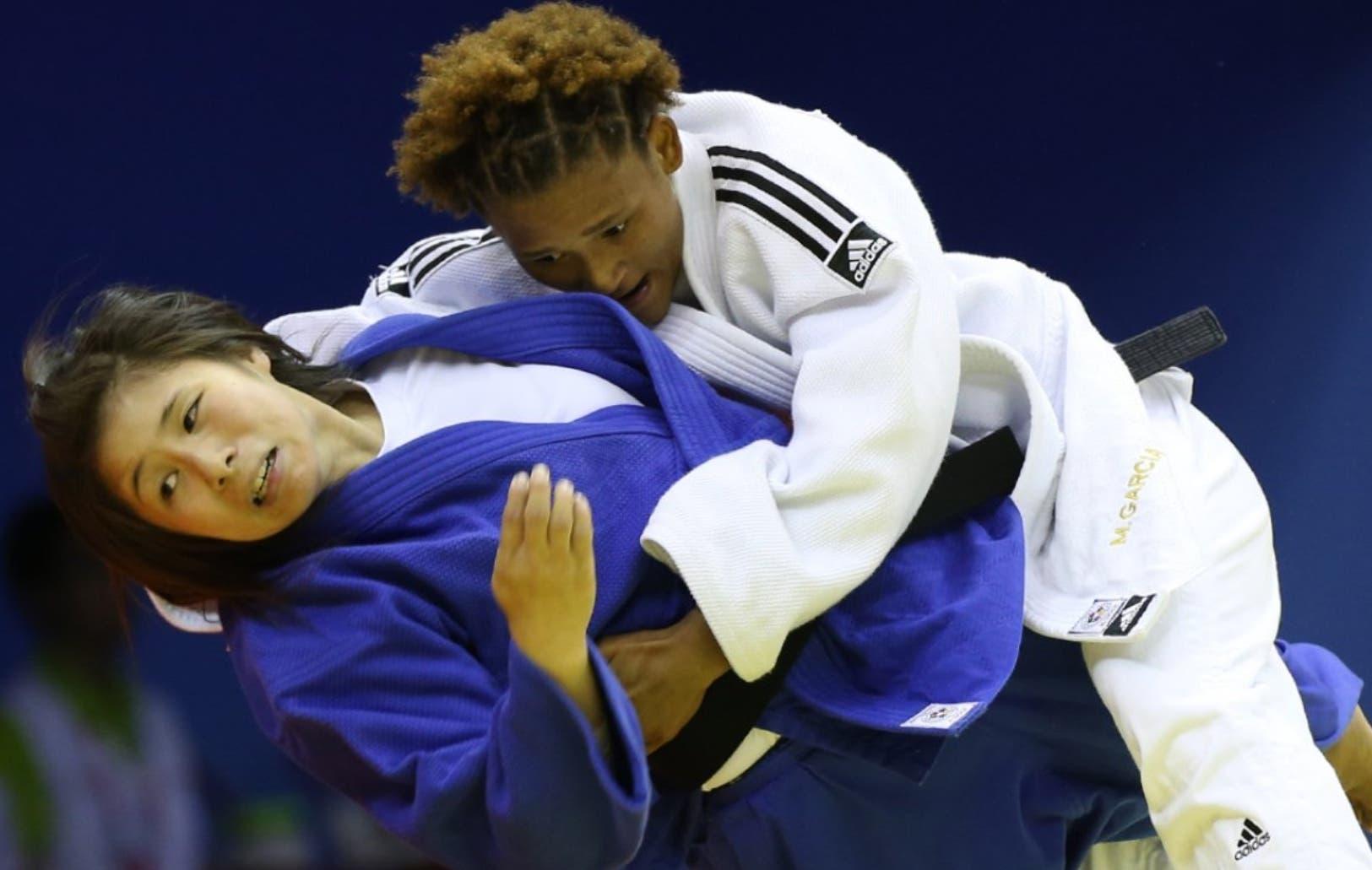 Estefanía Soriano en su pelea por la medalla de oro en los Juegos Centroamericanos y del Caribe, en Colombia.