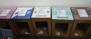 Las cinco urnas que serán utilizadas en las primarias simultáneas del 6 de octubre del 2019.