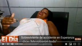 La mujer, hasta ahora solo identificada como Apolina denuncia le robaron maletas, dinero y celulares tras el accidente.