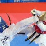 Edward Espinosa en plena acción en una competencia internacional, el dominicano está en sus mejores momentos.