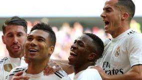 Jugadores del real Madrid celebran uno de sus triunfos.