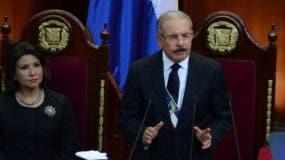 El presidente Danilo Medina durante su discurso de rendición de cuentas ante la Asamblea Nacional. Foto: José de León.