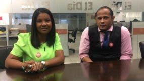 Jacinta Valdez y Armín Medina, del movimiento Bien Común en Higüey.