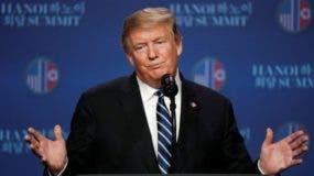"""""""No se pudo"""". El presidente Trump expresó que tuvo que alejarse de la mesa de negociación sin firmar un acuerdo."""