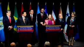 La anfitriona de la reunión, la ministra de Asuntos Exteriores de Canadá, Chrystia Freeland, habla en rueda de prensa.