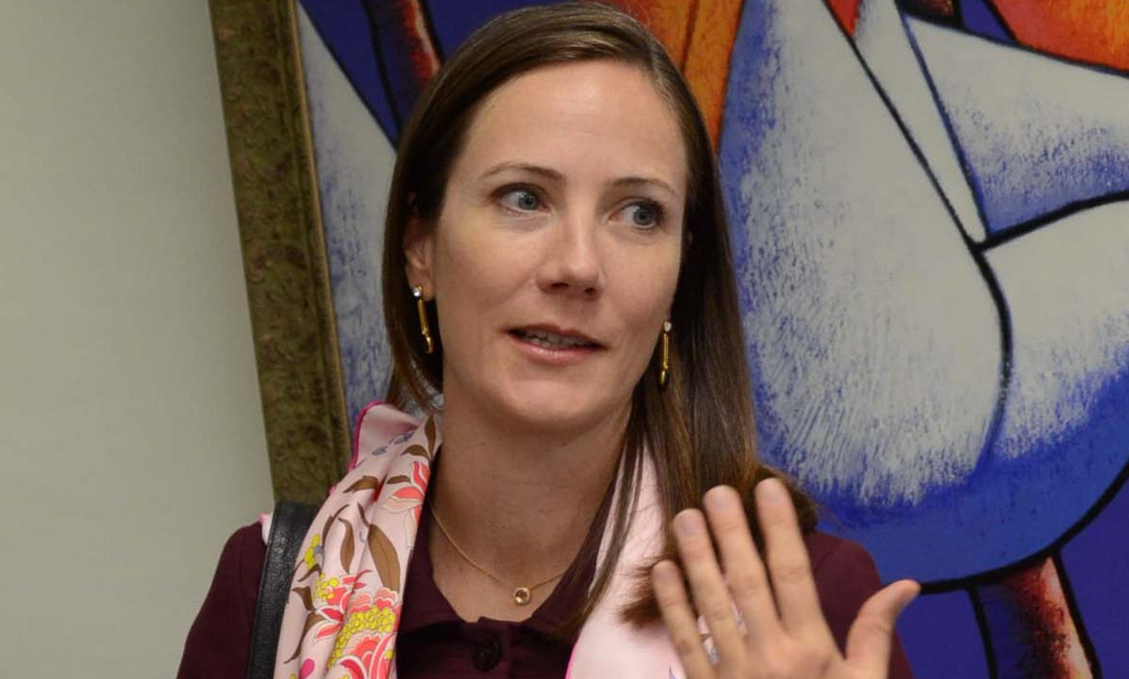 La embajadora de Canada en el pais, señora Shauna Hemingway,visito al director del periódico El Día/foto Jose de Leon