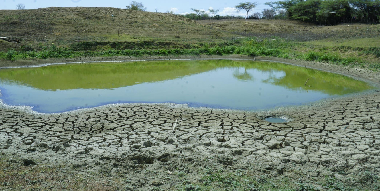 Esta es una de las pocas lagunas que todavía conserva algo de agua en la zona,  mientras las tierras lucen como si fueran desiertos.   Elieser Tapia