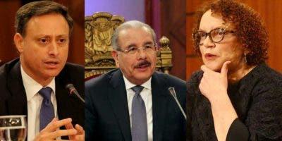 Jean Alain Rodríguez, Danilo Medina y Miriam Germán.