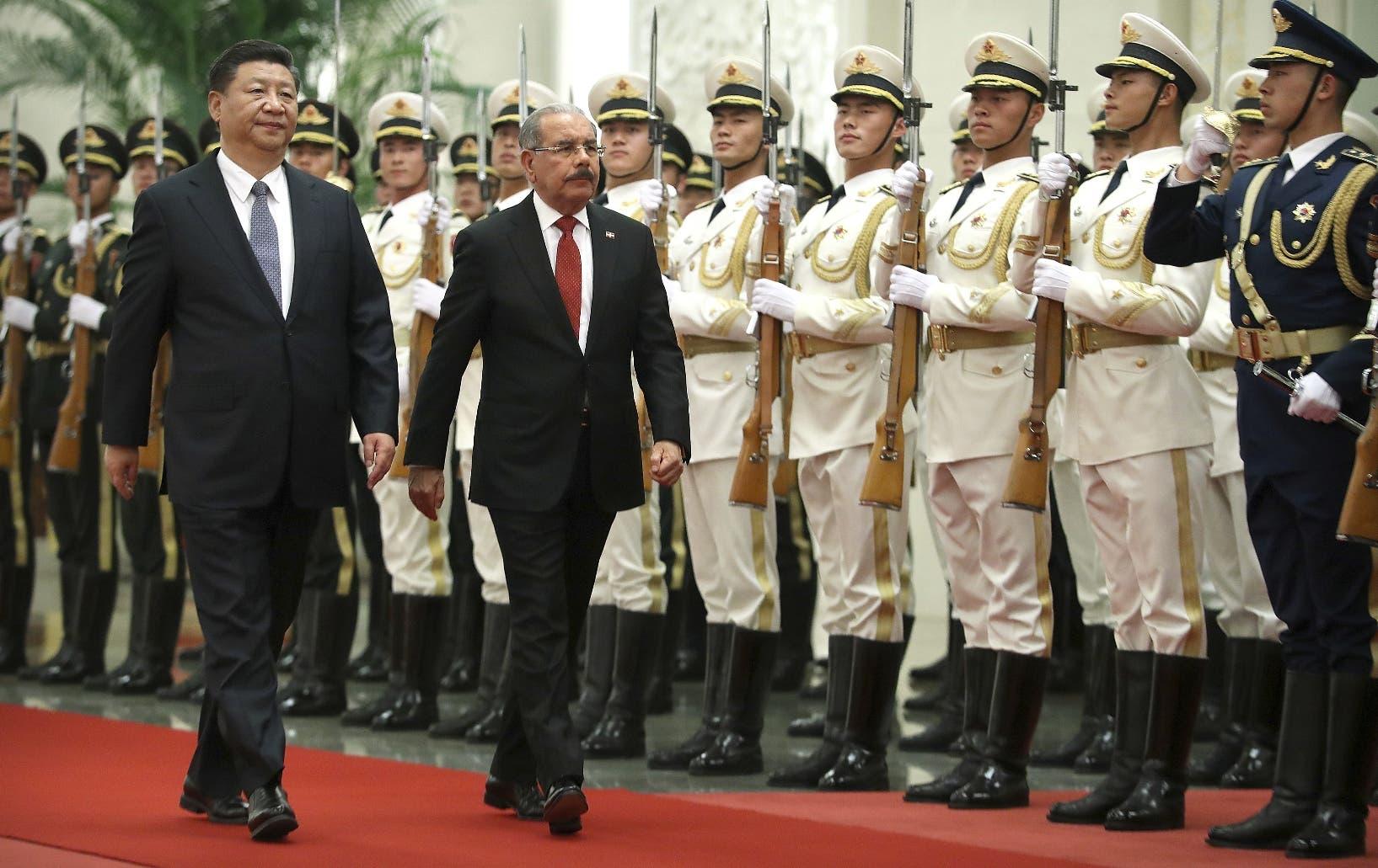 Danilo Medina junto a su homólogo chino, el presidente Xi Jinping, durante  encuentro en Beijing con gobernantes latinos.