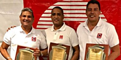 Luis Falette (segundo  lugar), Toribio Mera (primer lugar), y  Luis Mezquita Javier (tercer lugar).