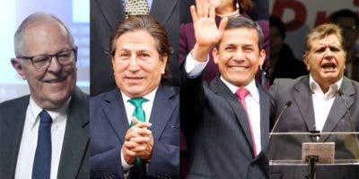 Los expresidentes de Perú Pedro Pablo Kuczynski, Alejandro Toledo, Ollanta Humala y Alan García.