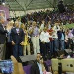 Los logros de la gestión de Medina y los actos en apoyo a  estas iniciativas fueron mostrados  en una pantalla gigante.  José de León
