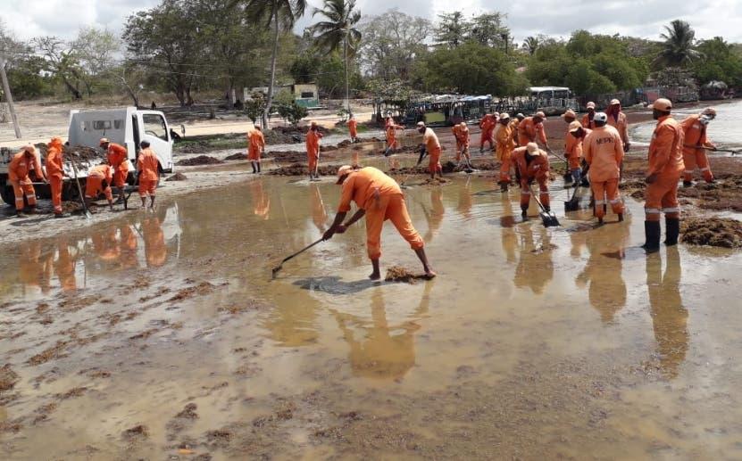 Brigadas en plena labor para acondicionar litoral de playa.