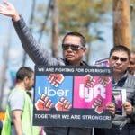 Manifestación de conductores de Uber y Lyft en Massachusetts
