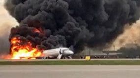 Sukhoi Superjet 100 lands with fire at Sheremetyevo airport