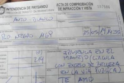 Una imagen de la sanción fue colgada en Facebook.