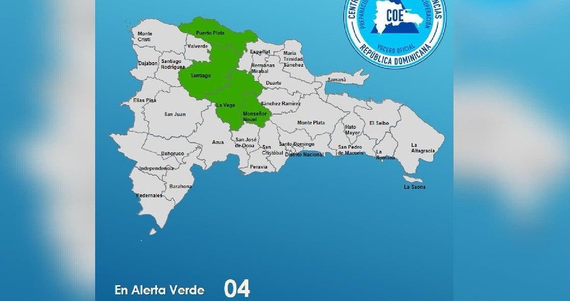 COE emite alerta verde para cuatro provincias por lluvias