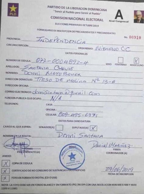 Inscriben en PLD precandidatura de Donni Santana pese a que guarda prisión