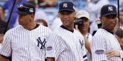 Alex Rodríguez, Derek Jeter y Mariano Rivera cuando jugaban con los Yanquis. Archivo