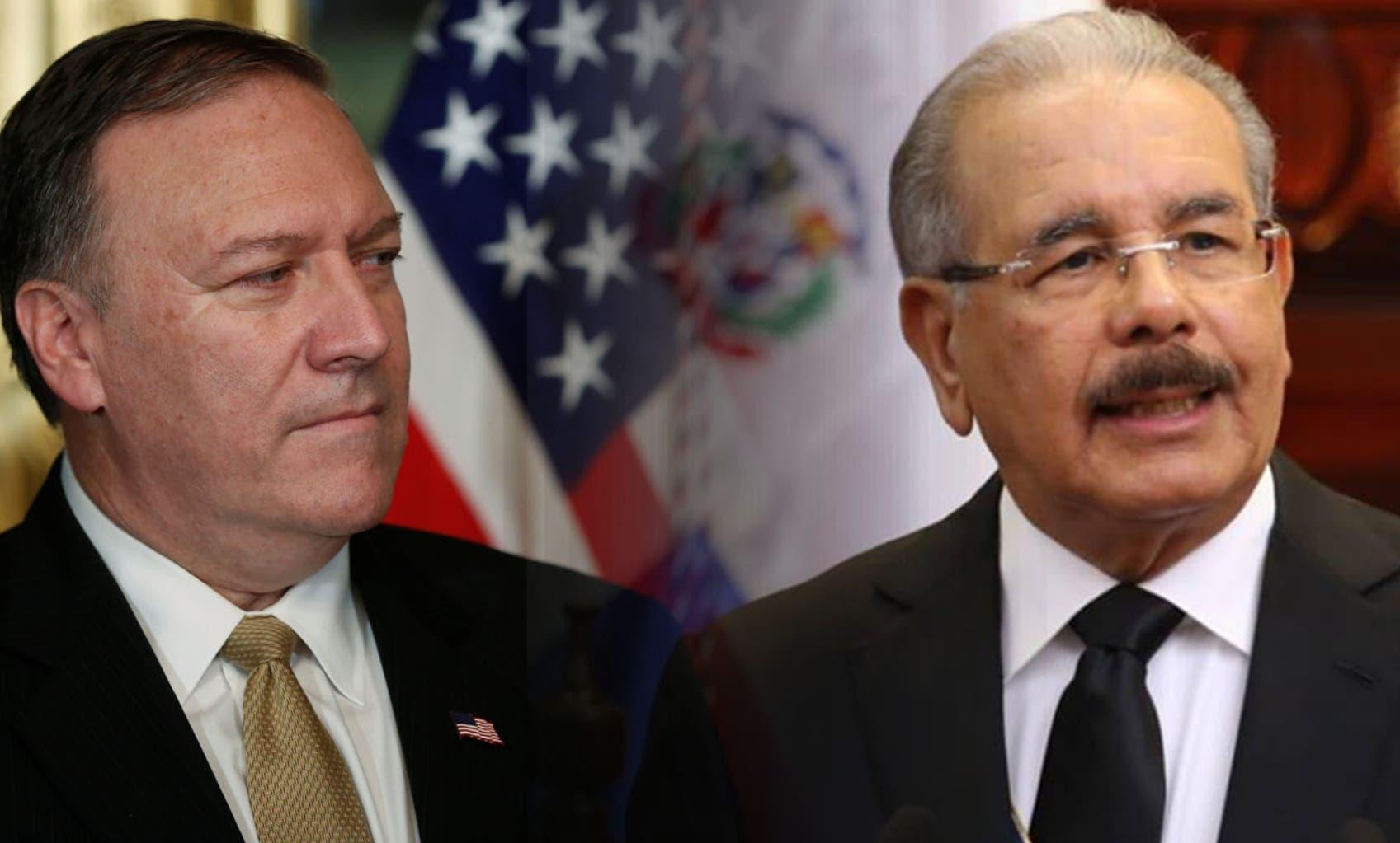 Mike Pompeo y Danilo Medina conversaron vía telefónica sobre la importancia de preservar las leyes y la Constitución.